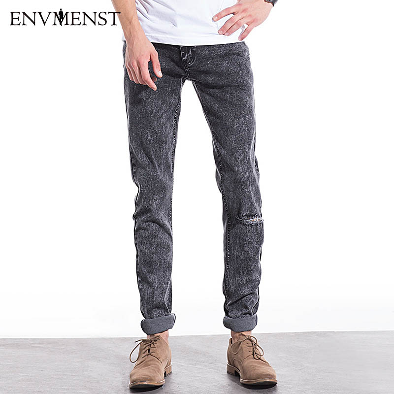 2017 new Mens fashion straight gray jeans Mens pants with high quality 80% cotton Men jeans slim hole Ankle-length jeans men