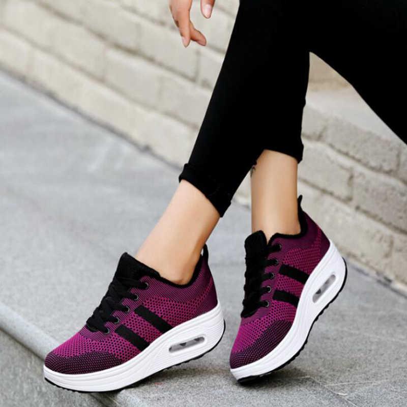 2018 ilkbahar ve yaz kadın flats moda örgü kadın ayakkabı yüksekliği artan kadınlar için flats ayakkabı sapato feminino