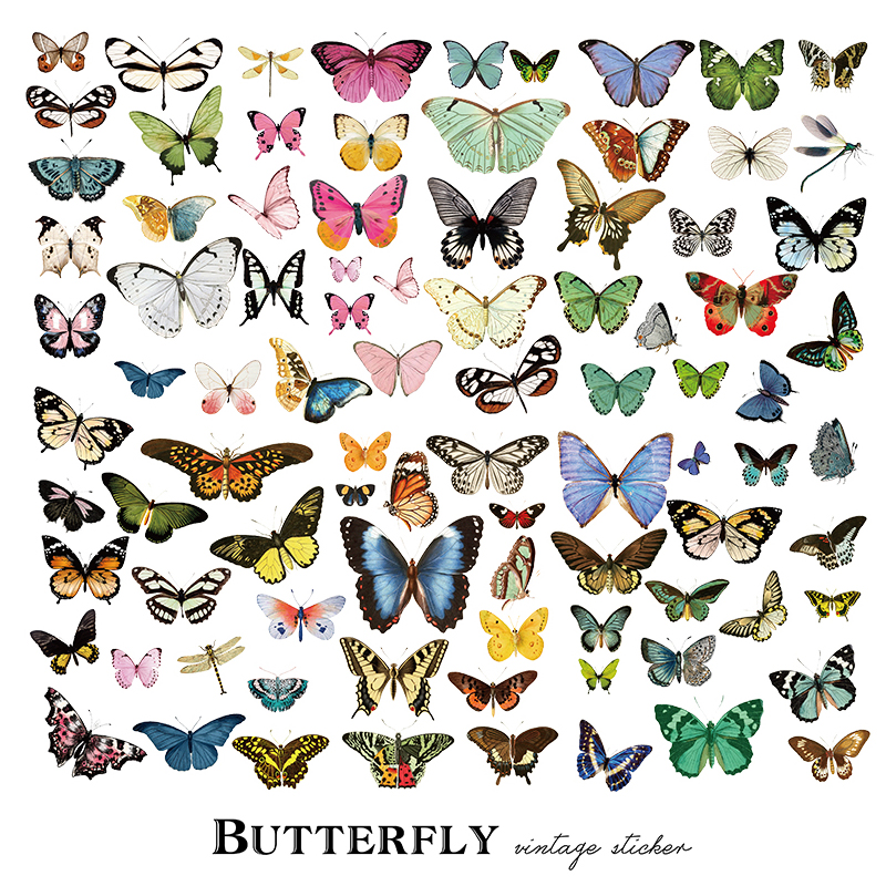 80PCS Creative Vintage Butterfly Scrapbooking Material ...