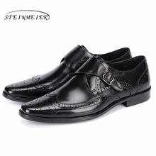 Genuine cow leather brogue Wedding banquet shoes mens casual flats vintage handmade oxford for men black brown 2019
