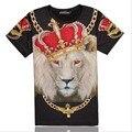 Verano Estilo 3D Print Lion King Corona Real Gráfico Camiseta Ventilar Cómodo Tees Tops Streetwear Informal Ropa de Talla grande