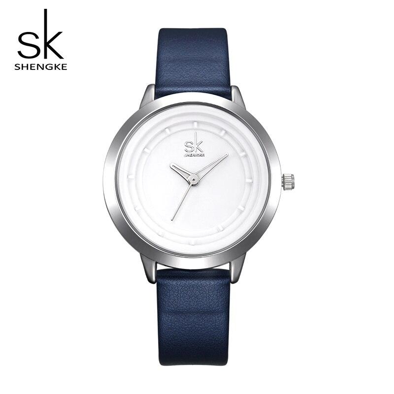 Shengke Watch Women Navy Blue Leather Strap Quartz Watches Women Fashion Watches Relogio Feminino 2017 Female Wristwatch #K0048 edwin watch navy