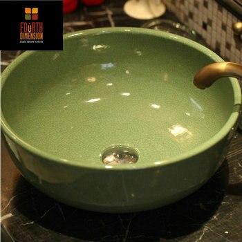 2Colors Crackle Procelain Handmade Artistc Ceramic Lavabo Bathroom Vessel  Sinks Green Bathroom Sink