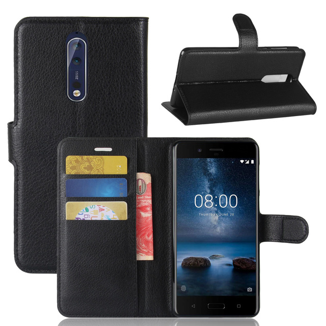 wholesale dealer f75bd 2d3ed US $1.49 25% OFF Baiscxst For Nokia 8 Case Cover Silicone Luxury Flip  Leather Original Case Shockproof Hard Metal Armor Fundas-in Flip Cases from  ...
