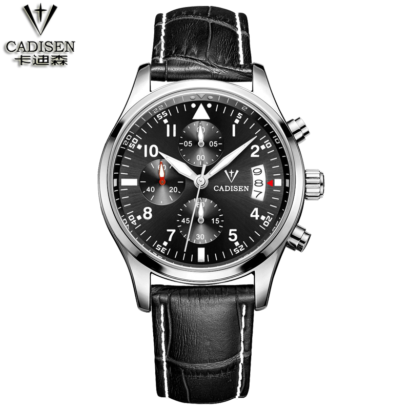 CADISEN Brand Luxury Famous men watches Fashion leisure Dress Quartz Watch Business leather watch Male Clock Relogio Masculino  binger brand luxury famous men watches fashion leisure dress automatic watch business leather watch male clock relogio masculino