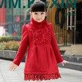 2016 мода зима девушки шерсти пальто верхняя одежда красная куртка девушки меховым воротником дети зимнее пальто девушки одежду для 14 Т AKC166001
