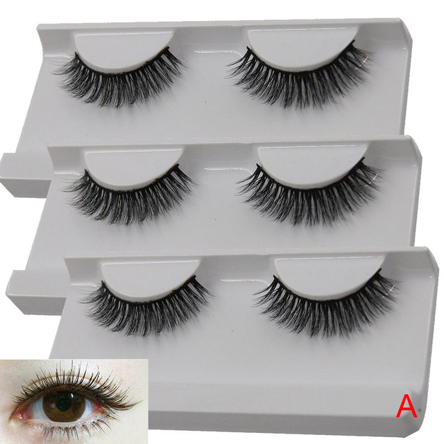 Outtop 3d Lashes 1pairs Long Cross False Eyelashes Makeup Natural