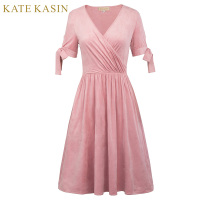 Kate Kasin À Manches Courtes Robes de Cocktail Rose V Cou De Bal robe Longueur Au Genou Robe de Coctel Formelle Partie de Cocktail Courte robe