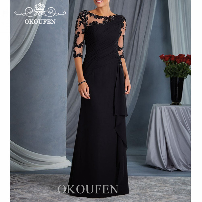 Elegant Black Mermaid Mother Of The Bride Dresses With 1/2 Long Sleeves 2020 Sheer Neck Appliques Evening Dress Party For Women