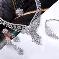 Proveedor de gama alta Joyería de Lujo Accesorios de La Novia de Largo Collar Grande pendientes de Gota de la Flor diseño CZ sistemas de la joyería Nupcial de Moda
