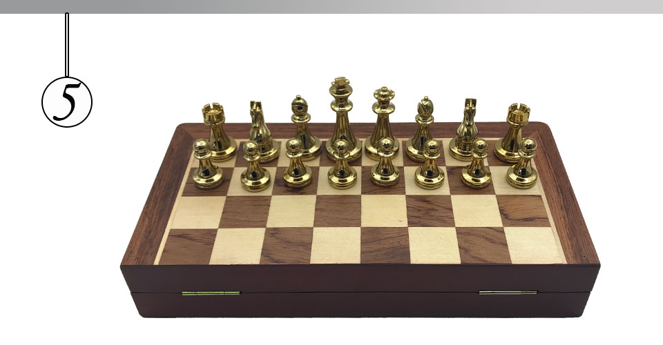 Easytoday Metal Glossy Golden And Silver Chess Pieces Solid Wooden Folding Chess Board High Grade Professional Chess Games Set (5)