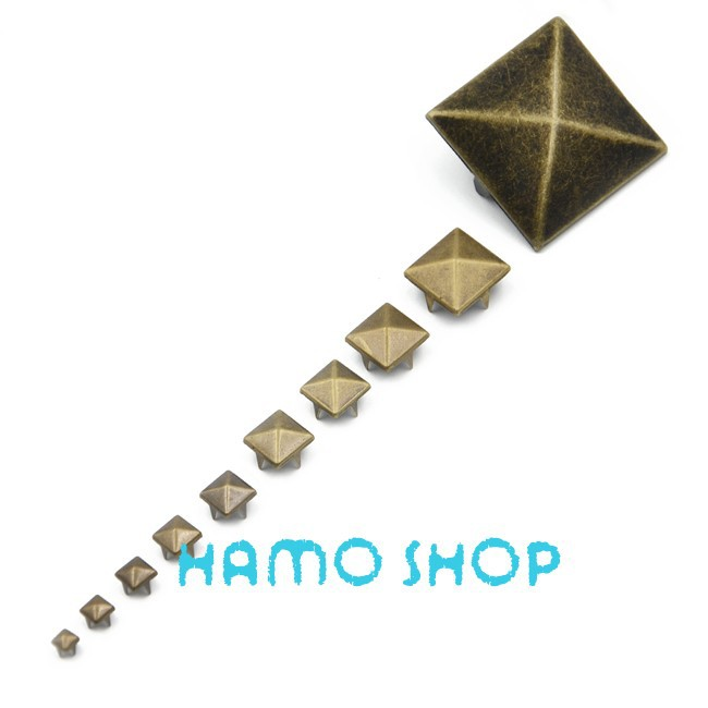 HOT 100PCS 6-30mm Square Pyramid Punk Spike Studs Spots Fashion Rivet DIY Bags