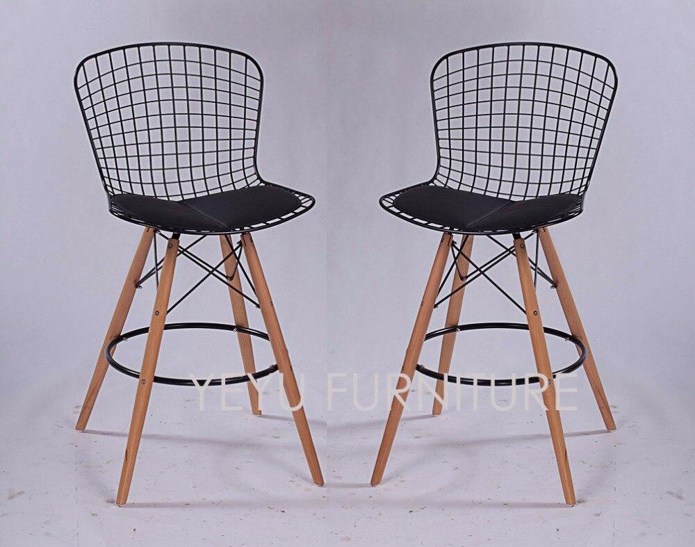 Minimalist modern design steel wire seat wooden leg padded counter