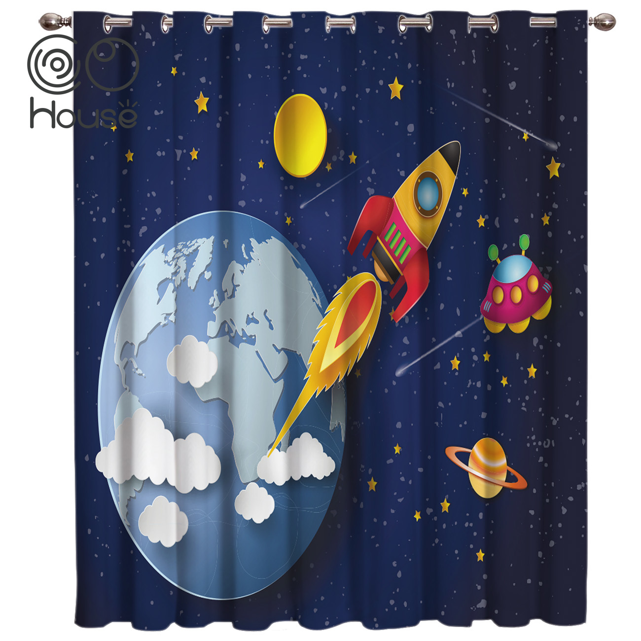 CoCoHouse Galaxy Cartoon Universe Window Curtains Dark Curtain Rod Bedroom Floral Indoor Decor Kids Curtain Panels With Grommets