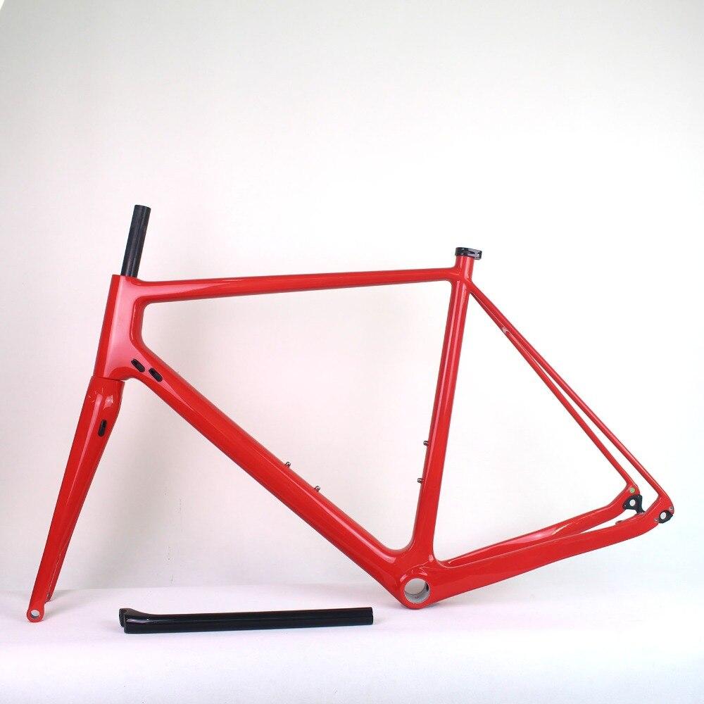 Fibra de carbono Toray T800 cascalho cascalho quadro da bicicleta nova plana montar freios a disco de carbono bicicleta frameset 49/52/ 54/56/Cascalho 58 centímetros De Carbono