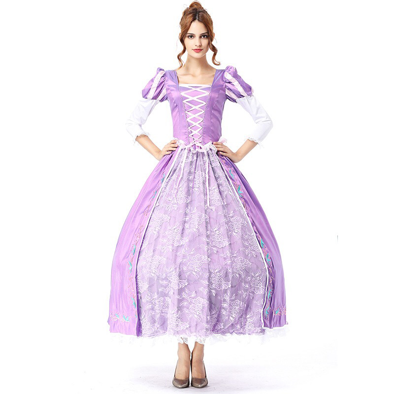 Rapunzel Princess Costume For Adult Women Fancy Maxi Long Purple Lace Dress Floral Ball Gown Royal Outfit Ladies With Crinoline