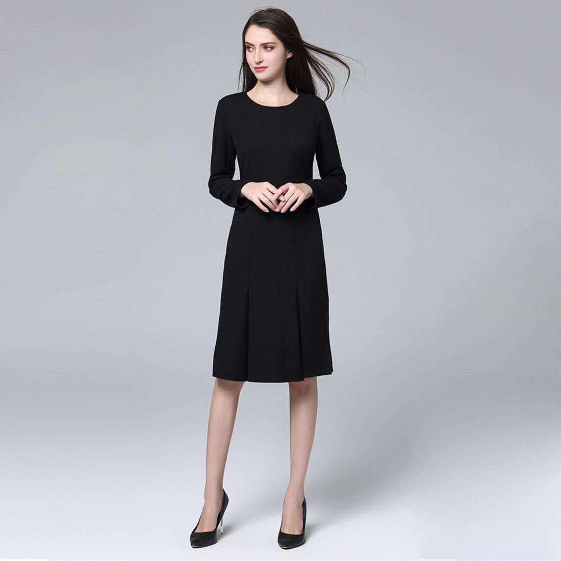 Marina Kaneva New Fashion Black Pleated Dress Female Slim Was Thin Long-sleeved Professional Temperament Package Hip Dress Lar