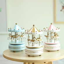 1Pcs Creative Ornaments Practical Boutique Musical Carousel Horse Wooden Carousels Music Box Toys For Children Pink Game Gift