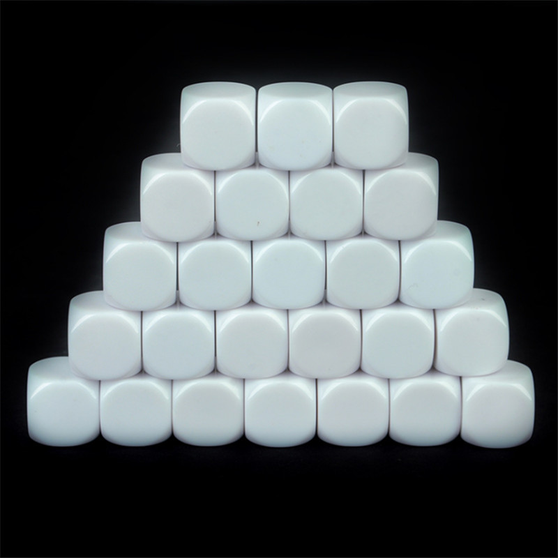 25pcs 16mm 18mm 20mm 22mm 30mm White Blank D6 Acrylic Dice With Round Corner For Kid DIY Write Painting Graffiti Family Games