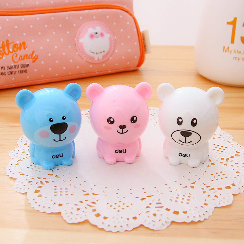 3 Pcs Cartoon Bear Pencil Sharpener For Kids 3 Colors Standard Pencil Cutting Machine Deli 0573 NEW