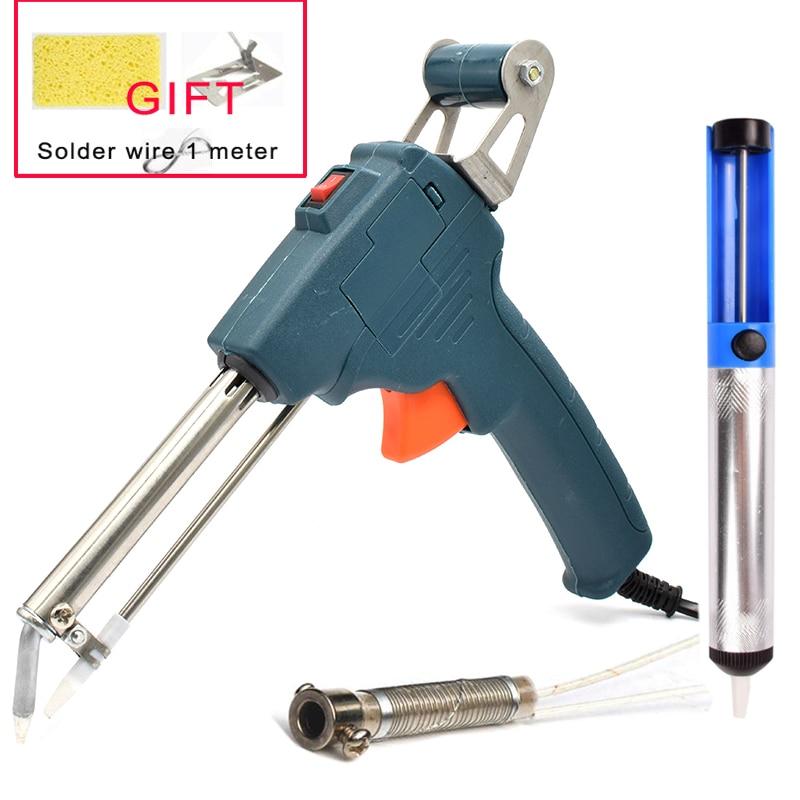 Automatic Send Tin Gun Electric Soldering Iron Rework Station Desoldering Pump Welding Tool Solder Wire 220V 60W EU