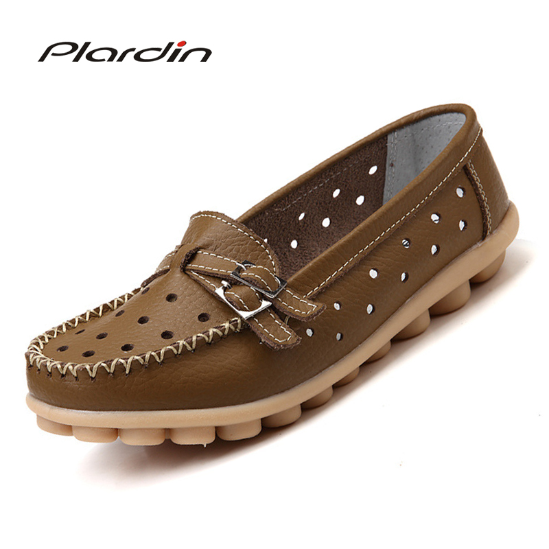 plardin New Summer Women cutouts Genuine Leather Shoes Comfortable Buckle Flats Nurse Casual Handmade ballet flats motorcycle parts black deep cut finned derby timing timer cover for harley davidson sportster xl883 xl1200