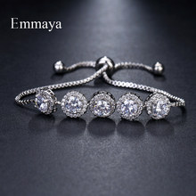Emmaya Brand Charm Classic AAA Cubic Zircon Three Colors Roundel Adjustable Bracelets For Woman Wedding Party Birthday Gift(China)