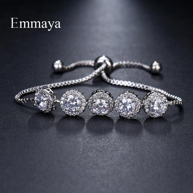 Emmaya Brand Charm Classic AAA Cubic Zircon Three Colors Roundel Adjustable Bracelets For Woman Wedding Party Birthday Gift