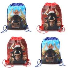 2018 Hot Movie 20pcs Ferdinand theme non-woven fabrics drawstring backpack,boy schoolbag,shopping bag 34*27cm
