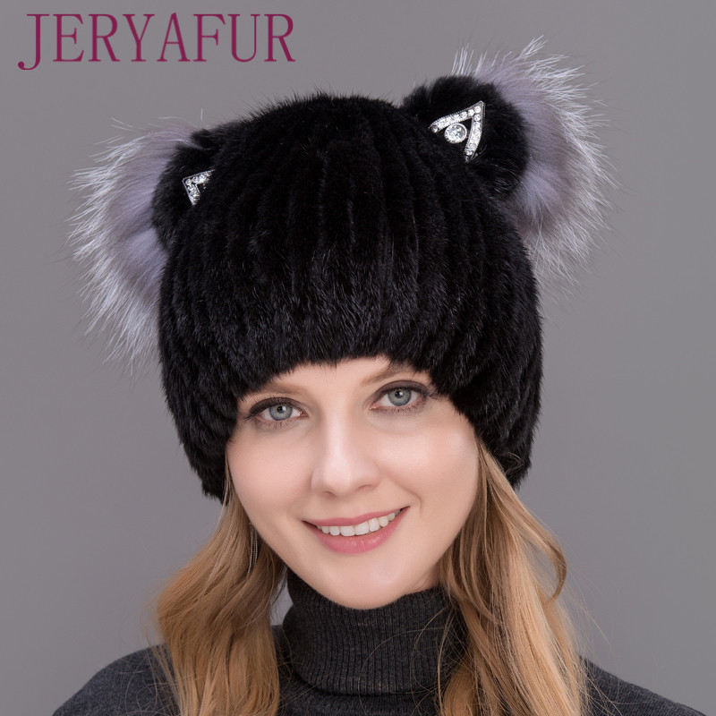 New Fashion Good Quality Female Winter Women's Vertical Weaving Hat Genuine Natural Fox Mink Fur Cap Lovely Cat Ears Style Hats