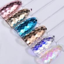 6 Jars/set Glitter Diamond Shape Rhombus Sheet Paillette Champagne/Rose Gold Color Nail Art Sequins Decoration