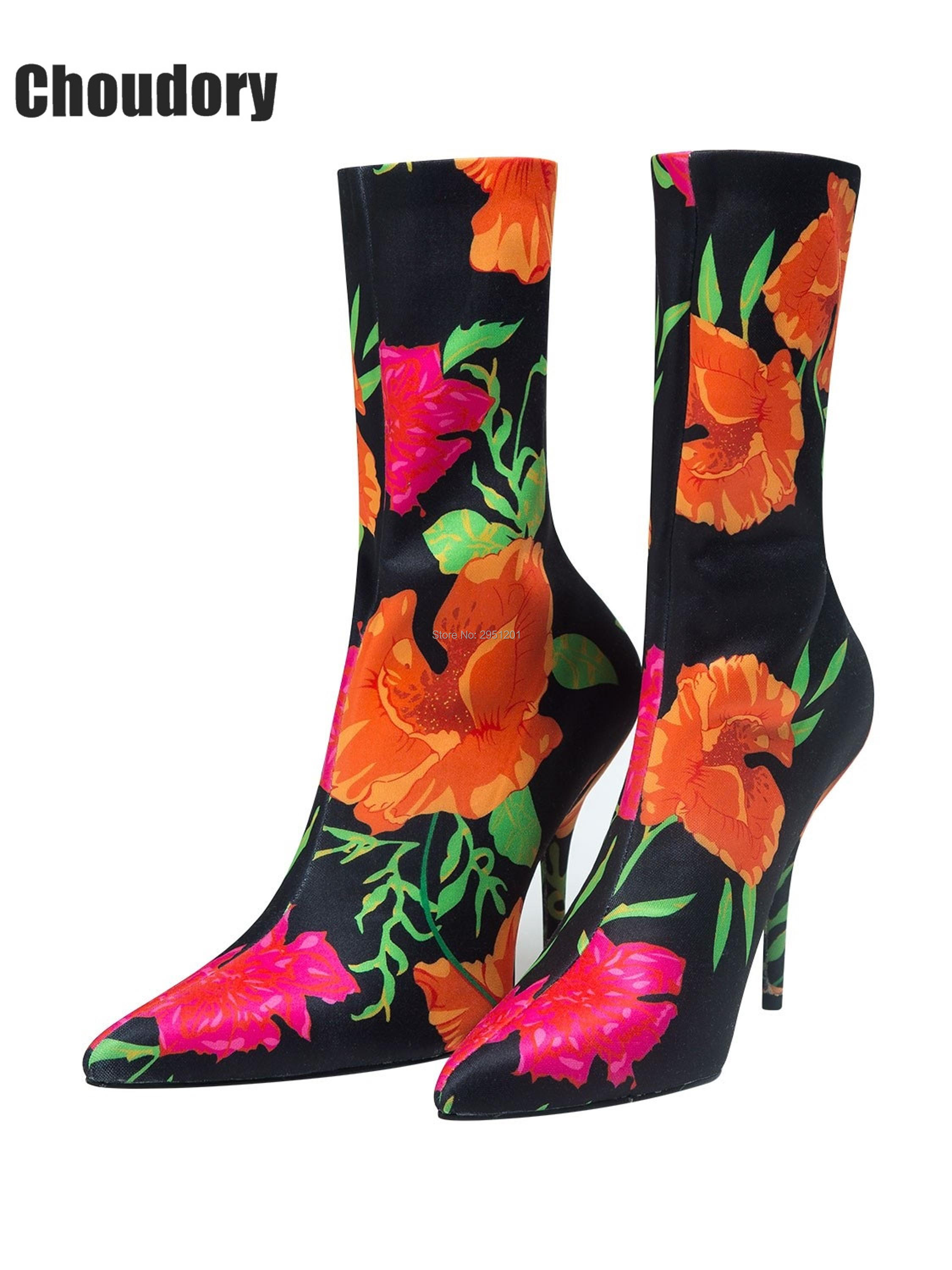 Designer Runway Stretch Shoes Women Stiletto Sock Booties Pointed Toe Sexy High Heels Strecthy Ankle Boots Floral Print Boots fashion kardashian ankle elastic sock boots chunky high heels stretch women autumn sexy booties pointed toe women pumps botas