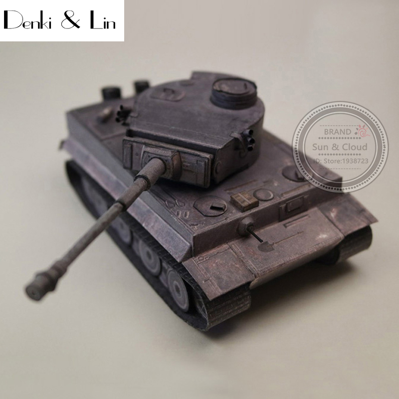 1:35 3D Germany Tiger II Tank Iron Gray Color Painting Paper Model Second World War Assemble Denki & Lin Puzzle Game DIY Kid Toy