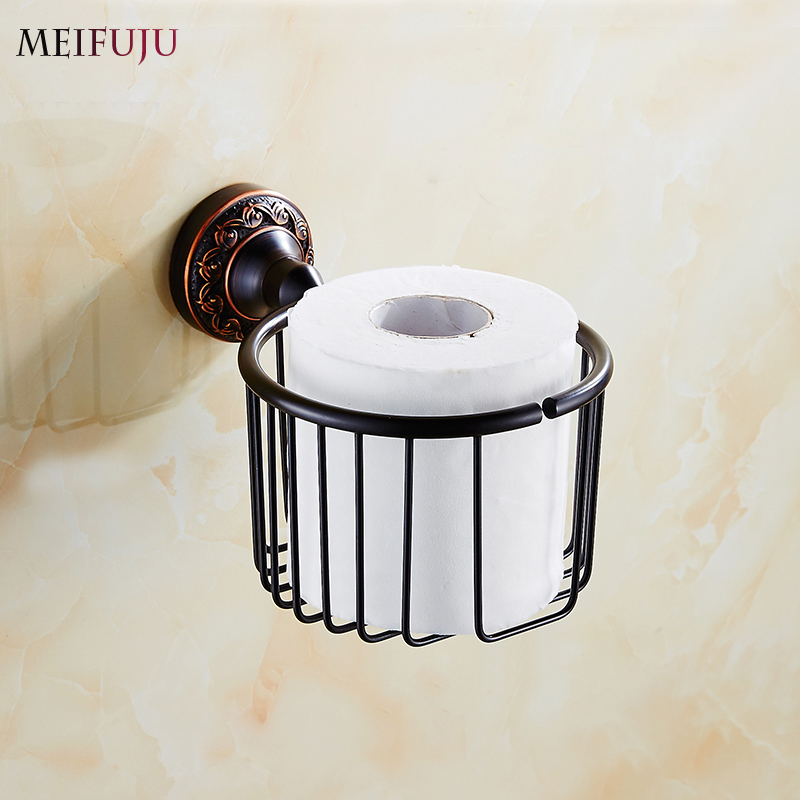Free shipping Antique Carving Toilet Roll Paper Bathroom Accessories Paper Holders Bathroom Basket Tissue holder Hardware sets black of toilet paper all copper toilet tissue box antique toilet paper basket american top hand cartons