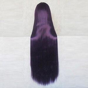 Image 2 - Super Danganronpa 2 Mikan Tsumiki Peluca de Cosplay de 100CM de largo, color morado y negro + gorro de peluca gratis
