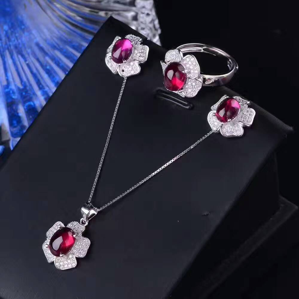 Natural red garnet stone wedding jewelry sets natural gemstone ring earrings Pendant S925 silver Fashion Roses Women wedding
