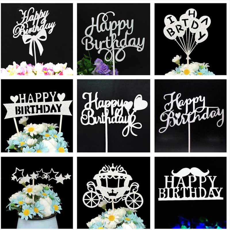 Cupcake Toppers Birthday Party Decorations Cake Toppers Birthday Cakes Baby Shower Girl Party Favors Happy Birthday Cake Topper