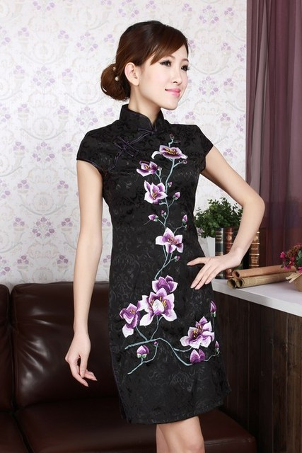 Newest Black Women's Cotton Qipao Top Embroidery Cheongsam Chinese Formal Evening Gown Dress Flower Size S M L XL XXL WC034