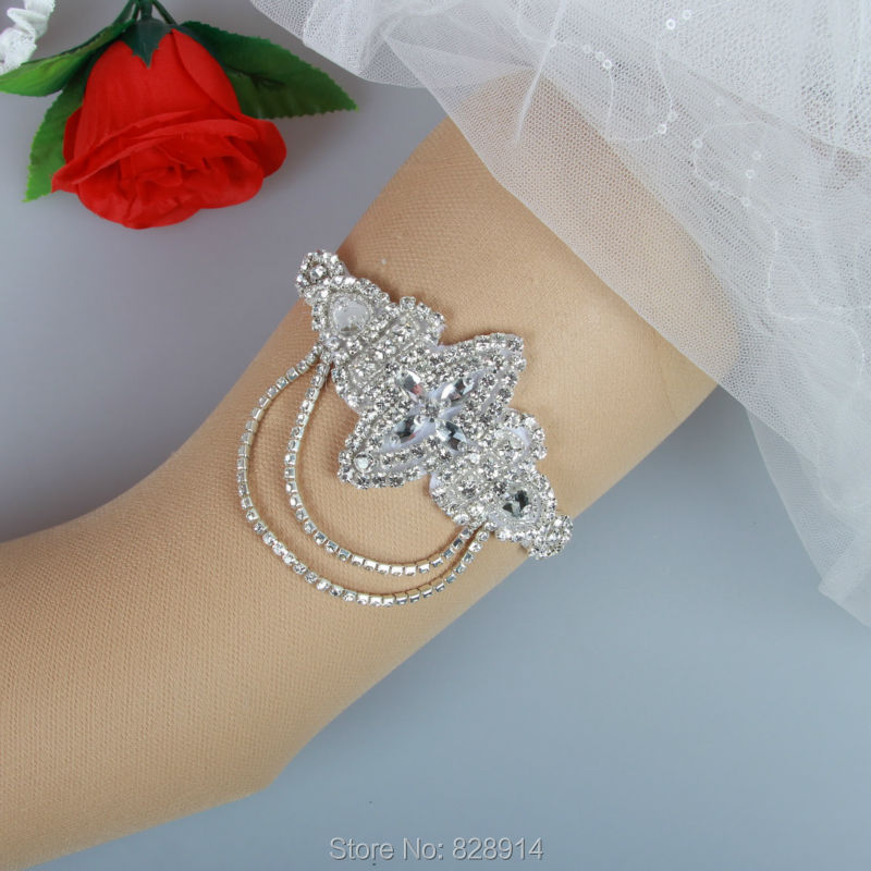 Crystal Wedding Garter: Wholesale Luxury Crystal Applique Rhinestones Wedding