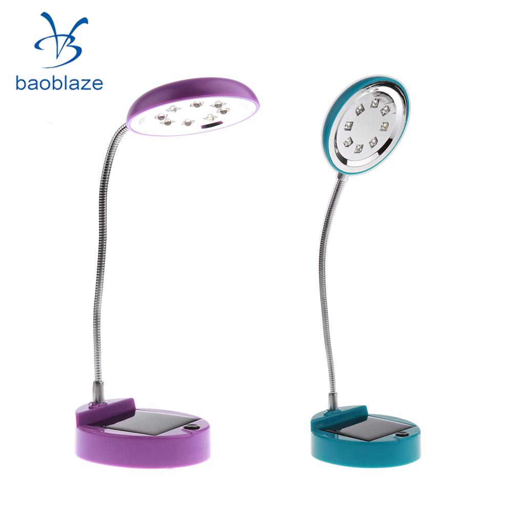 Baoblaze Portable Flexible Gooseneck Style 8-LED Solar/ USB Desk Lamp Bedside Reading Light - Blue & Purple usb powered flexible neck 10 led white light lamp blue 27cm
