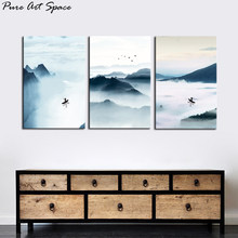 Landscape Oil Painting Canvas Prints Abstract Landscape New Chinese Style Ink landscape Poster Nordic Set Wall Art Living Room(China)