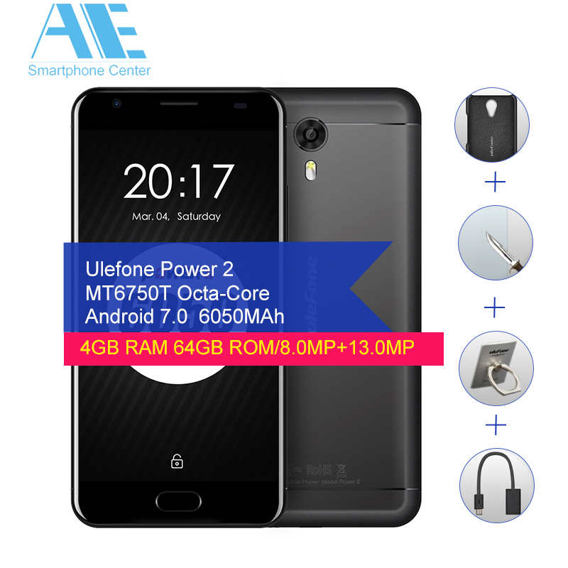 Ulefone Power 2 MT6750T Octa Core Cell Phone Android 7.0 4GB RAM 64GB ROM 5.5Inch Smart Phone Touch ID OTG Mobile Phone