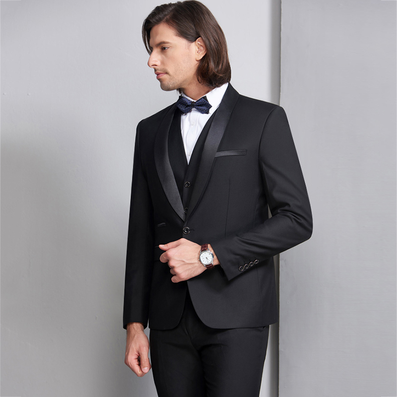 High Quality Wedding Suits For Men 2018 Men Black Suits Set 3 Piece Formal One Button Mens Blazer With Pants