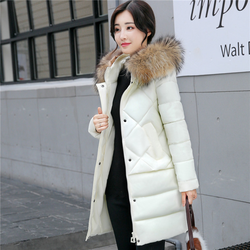 2017 New Fashion Winter Jacket Women Real Natural Raccoon Fur Collar Hooded Thick Casual Warm Down Mid-Long Parkas new fashion winter jacket women 2017 large real natural raccoon fur collar hooded jacket thick coat for women outwear down parka