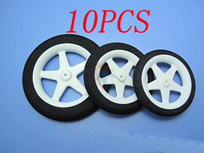 10PCS/LOT Sponge Wheel Light Machine Multi-standard Tire Landing Gear Wheel D60/55/63.5/76mm Aperture 1.8/2mm for RC Airplane image