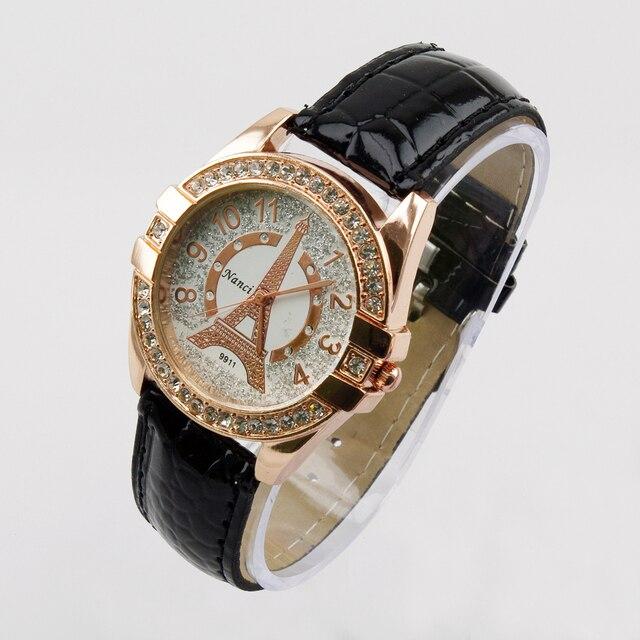 Изысканно башня Модные женские кварцевые часы Роскошные Имитация Алмазный аналоговый Наручные часы для любителей таймер wh130