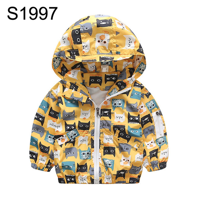 25f46161e New Chic Hooded Jackets Coats Outwear For Kids Girls 2-8 Years Cartoon Cats  Printing Windbreaker Children Boys Clothing