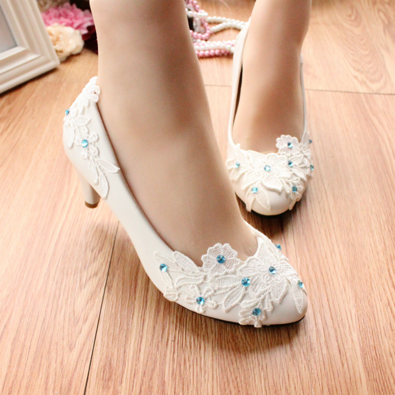 Blue rhinestone shoes in low heeled white wedding shoes crystal bridesmaid bridal shoes female pumps