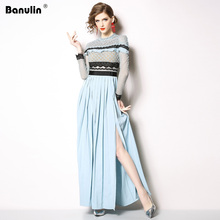 Banulin Fashion Designer Runway Dress Autumn Women Long sleeve Lace Hollow Out Ruffles Spliced Casual Party Elegant Slim