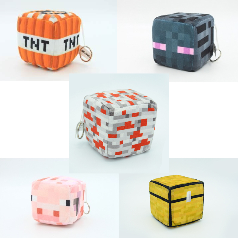 New Minecraft Square Plush Toys (TNT,Enderman,Trapped Chest,Pig,Redstone Ore,Lawn,Steve,Creeper)Cartoon Game Toys Children Gift светильник think geek minecraft redstone ore n00313